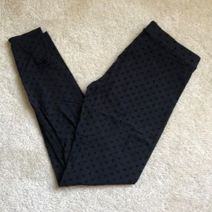 Lauren Conrad velvet polka dot black leggings